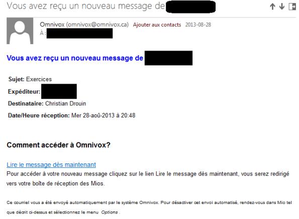 Exemple d'un avertissement envoyé par Omnivox pour avertir de la réception d'un message MIO